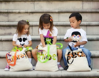 Trick or Treat Bag Halloween Applique Tote Bag Candy Personalized Name Bag Boy or Girl Up to 7 Letters ( NO Flower Clips )
