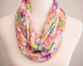 Pansy Infinity Scarf, Rose Womens Floral Knit Scarf, Circle Loop Flower Scarf, Ready to Ship Sewn Knit Fabric Stretchy Pink Purple Blue Teen