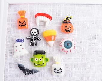 Halloween Push Pins, Fun Assorted Resin Fall Holiday Thumb Tacks, Bat, Eyeball, Frankenstein, Pumpkin, Candy Corn, Ghost, Skeleton Pins