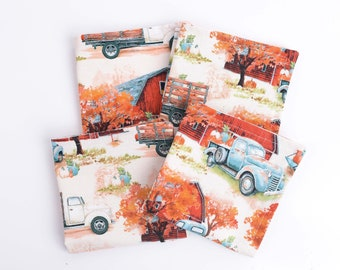"""Fall Cloth Cocktail Napkins, Set of 4, Small 9""""x9"""" Size, Country Antique Truck Fabric Napkins, 100% Cotton, Double Layer Fall Napkin Set"""
