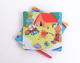 Robot Camp Coasters, Assorted Scene Summer Camp Fabric Drink Coasters, Set of 4, Novelty Print Mug Rugs
