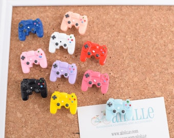 Resin Video Game Controller Thumb Tacks, Set of 5 or 10, Choose Pastel or Primary Colors, Teen Room Decor, Bulletin Board Poster Tacks
