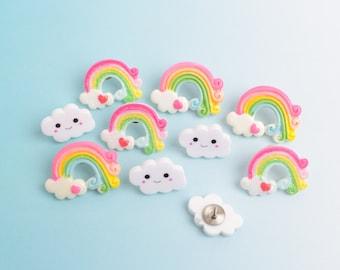 Rainbow Push Pin Set of 10, Kawaii Clouds Thumb Tacks, Novelty Bulletin Board Tacks, Cubicle Office Decor, Fun Thumb Tack Set