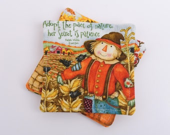 Fall Fabric Coasters / Scarecrow and Pumpkin Cloth Drink Coaster Set of 4 / Ralph Waldo Emerson Quote / Country Style Mug Rugs
