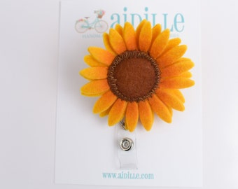 Sunflower Badge Reel / Felt Flower Badge ID Holder / Fall Flower Retractable Badge Reel / Swivel Alligator Clip / Gift for Office Co Worker
