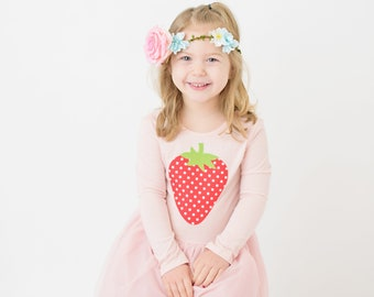Girls Dress Pink Strawberry Applique Tutu Dress Long Sleeve Sizes 3T 4T 5T Ready to Ship Pink and Red Tulle Skirt Spring Fruit Scoop Back