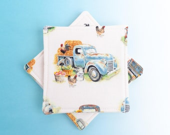 Fall Cloth Coasters, Autumn Fabric Drink Coaster Set of 4, Country Home Dining Decor, Antique Vintage Blue Truck Farm Assorted Scene