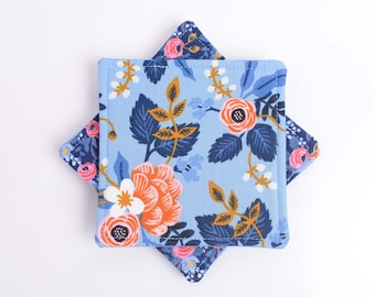 Floral Cloth Coasters, Assorted Rifle Paper Fabric Periwinkle Blue Fabric Drink Coasters, Pretty Insulated Triple Layer Mug Rugs