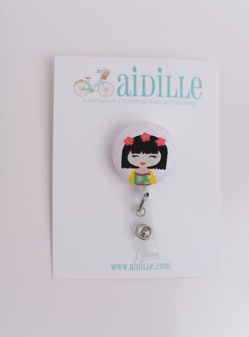 One Geisha Badge Reel  Retractable Badge ID Holder  Fabric Button Swivel Alligator Clip  Japanese Girl Doll Clip  Kawaii Asian Gift Idea