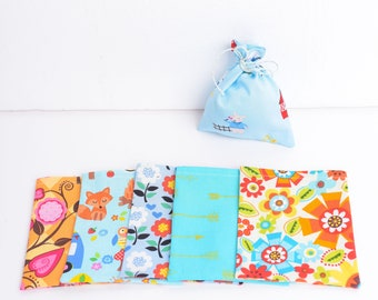 Girls Birthday Party Favor Bags, Mini Cloth Gift Bags, Set of 6, Assorted Girly Floral Animal Fabric Prints, Reusable Eco Friendly Gifting