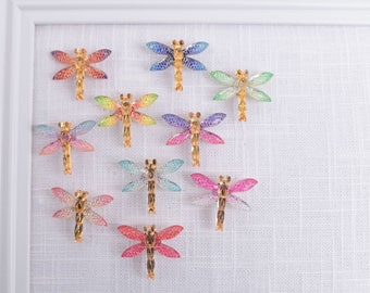Dragonfly Thumb Tacks or Magnets, Set of 10 Assorted Colors, Corkboard Glitter Sparkly Push Pins, Insect Bug Metallic Gold Tack Set