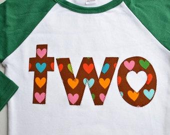 Girls Second Birthday Shirt, Girls 2nd Birthday Tshirt, Applique Heart Shirt, In Stock, Green White Raglan Tee Size 2 2T Ready to Ship