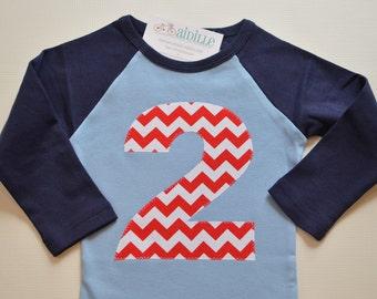 Kids 2nd Birthday Shirt Nautical Chevron Red White Navy Raglan Tshirt Boy Or Girl Applique Number 2 Tee Size Ready To Ship