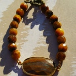 Tiger's Eye Bracelet with faceted Tiger Eye gemstones and gold findings