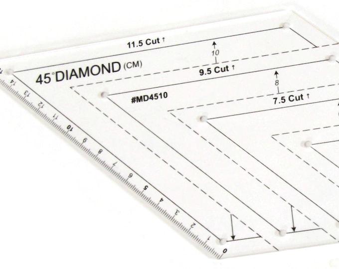 Diamond Metric Quilt Ruler 45 degree 2cm - 12cm