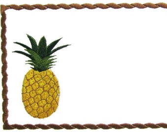 Pineapple embroidered quilt label to customize with your personal message