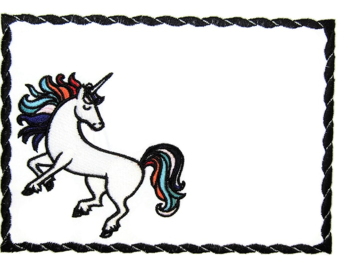 Unicorn quilt label embroidered to customize with your personal message
