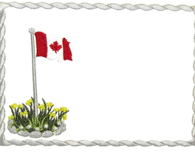 Canada flag embroidered quilt label to customize with your personal message
