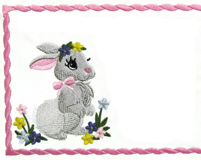 Bunny Girl embroidered quilt label to customize with your personal message