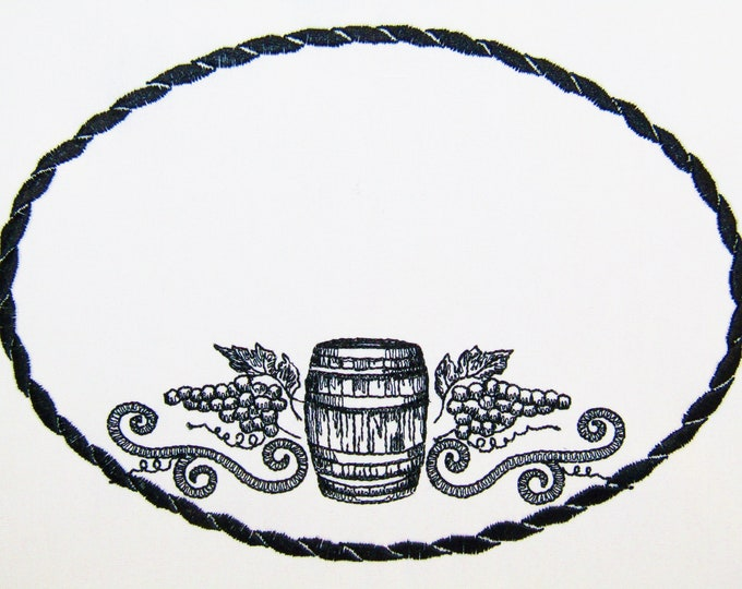 Wine Barrel embroidered quilt label to customize with your personal message