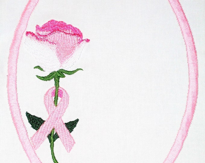 Breastcancer Awareness Rose & Ribbon  Embroidered Quilt Label to customize with your personal message