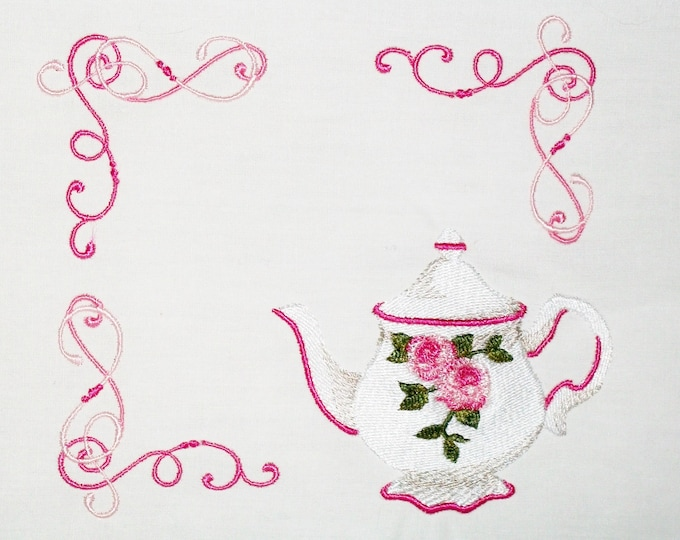 Rose Teapot embroidered quilt label to customize with your personal message