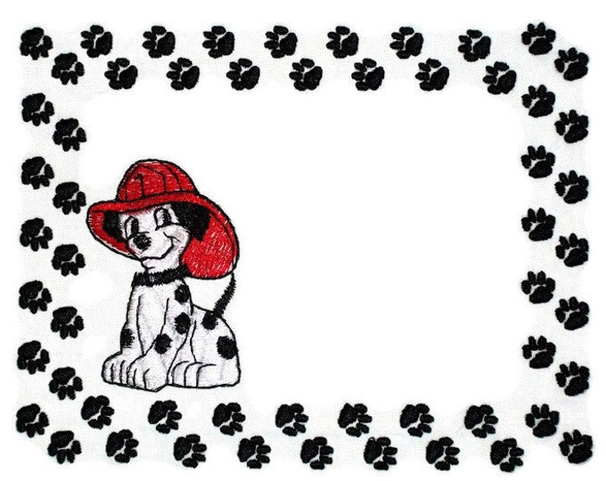 Dalmatian Firefighter Embroidered Quilt Label to customize with your personal message
