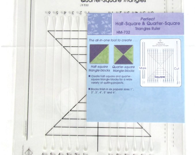 Half square triangle ruler to mark and cut blocks