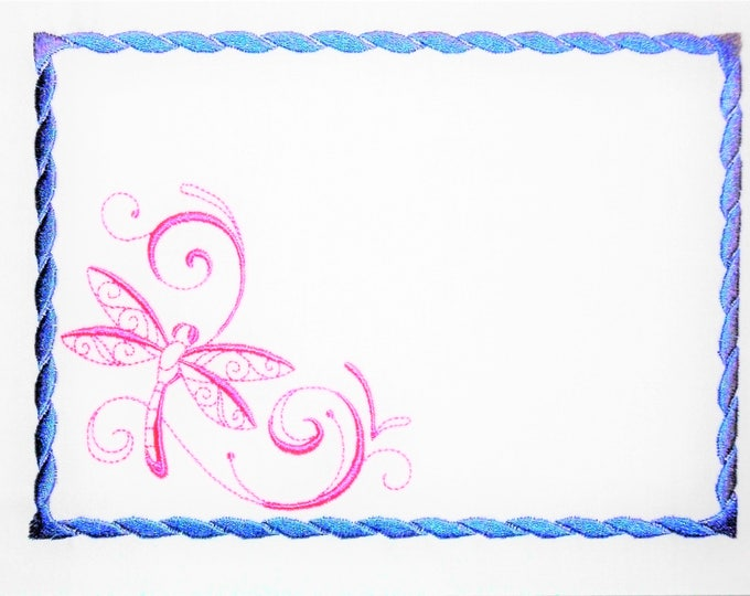 Dancing Dragonfly embroidered quilt label to customize with your personal message
