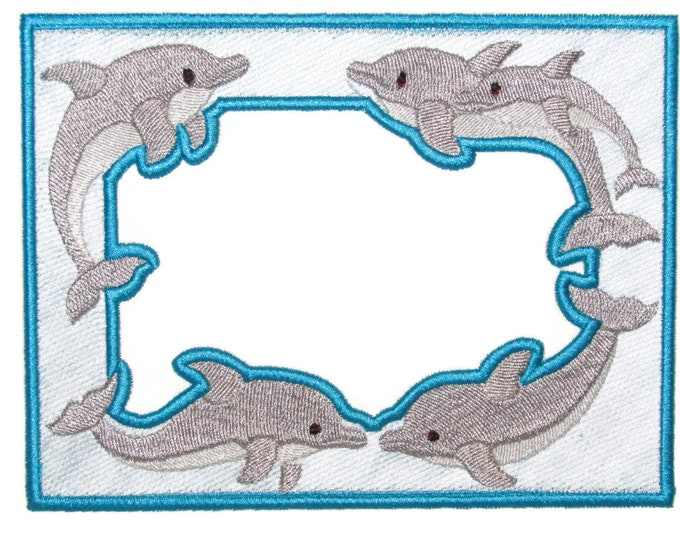 Dolphin frame embroidered quilt label to customize with your personal message