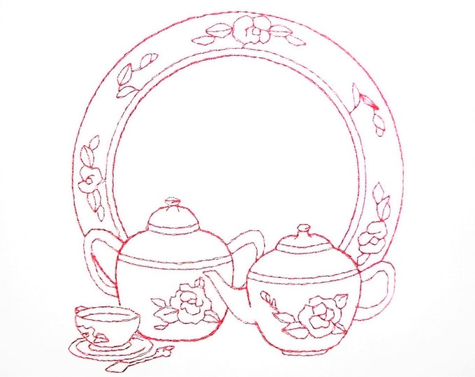 Redwork Tea embroidered quilt label to customize with your personal message
