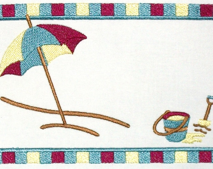 Beach Scene embroidered quilt label to customize with your personal message