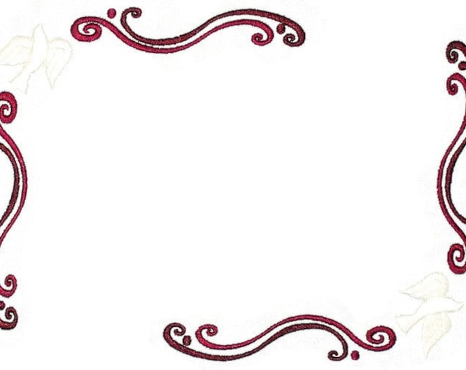 Doves and scrollwork embroidered quilt label to customize with your personal message