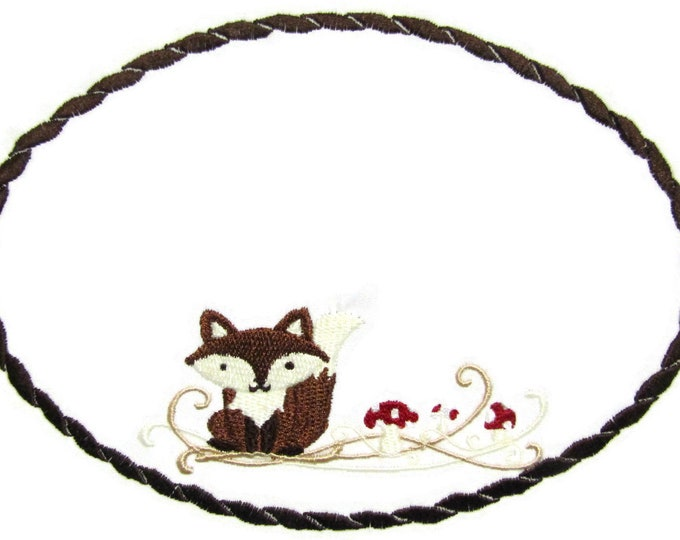 Fox embroidered quilt label to customize with your personal message
