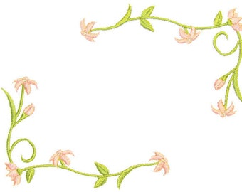 Delicate Floral embroidered quilt label to customize with your personal message