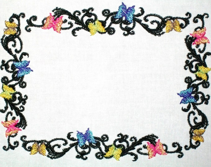 Beautiful Butterfly scrolled motif embroidered quilt label to customize with your personal message