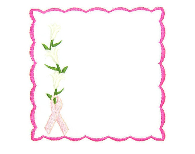 Lily breast cancer awareness embroidered quilt label to customize with your personal message