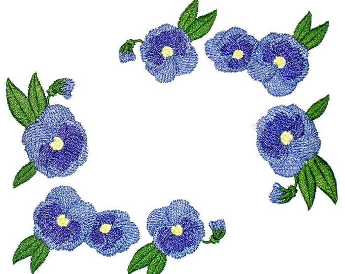 Purple Pansy floral Embroidered Quilt Label to customize with your personal message