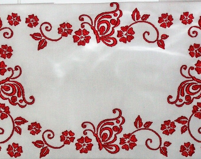 Butterfly Redwork embroidered quilt label to personalize with your own message