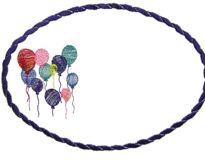 Birthday Balloons embroidered quilt label to customize with your personal message