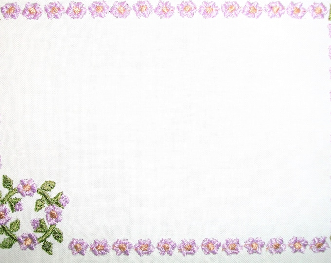 Hollyhock floral embroidered quilt label, to customize with your personal message