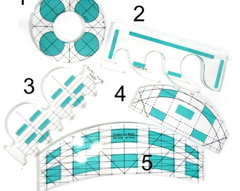 Ruler foot Templates 5 piece set -3mm rulers free motion