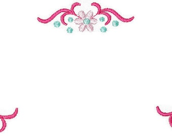 Pink Floral embroidered quilt label, to customize with your personal message