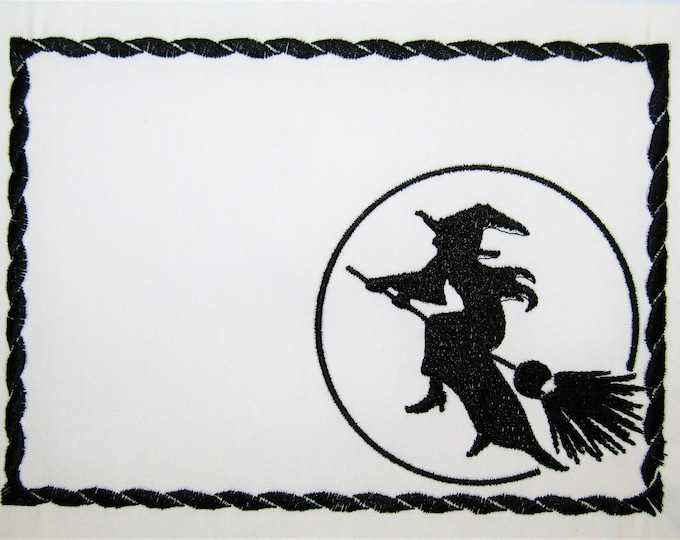 Flying Witch embroidered quilt label to customize with your personal message