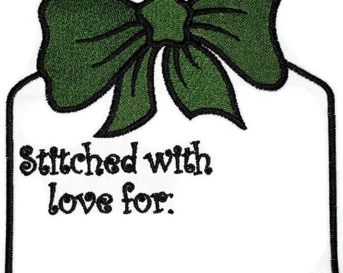 Christmas tag embroidered quilt label for blocks or tops, to customize with your personal message