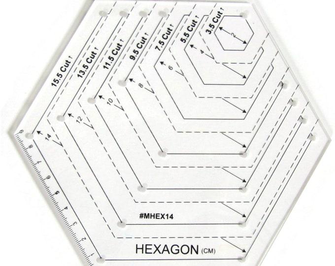 Hexagon Quilting Ruler 2cm-14cm Metric