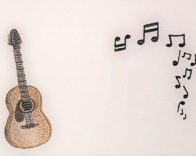 Acoustic Guitar embroidered quilt label, to customize with your personal message