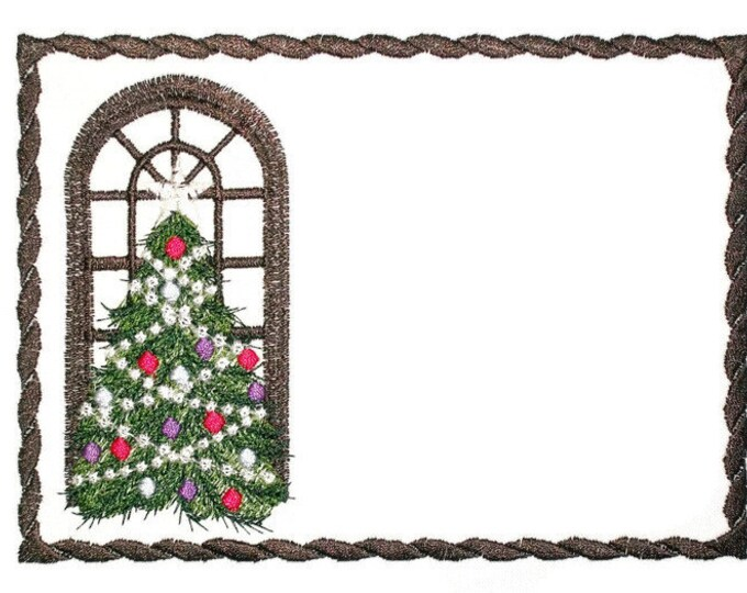Christmas Tree embroidered quilt label to customize with your personal message