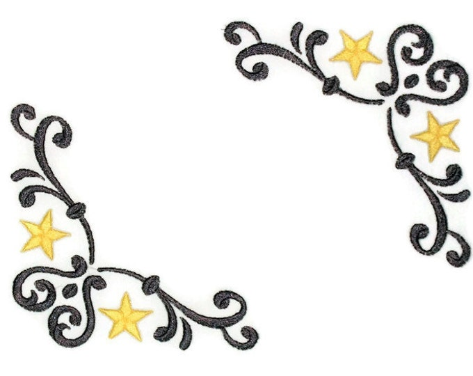 Stars wrought iron themed embroidered quilt label to personalize
