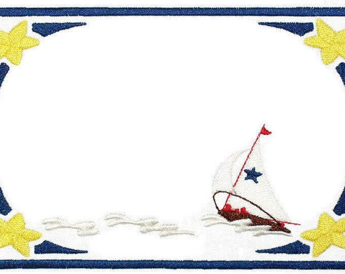 Nautical Sailboat scene embroidered quilt label, to customize with your personal message